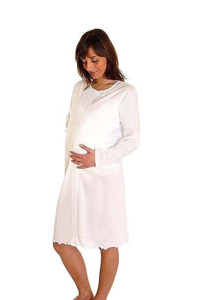a717050072 MAMINA Camicia da Notte Parto Clinica Aperta Davanti Premaman Manica Lunga  100% Cotone Jersey maternità: Amazon.it: Abbigliamento