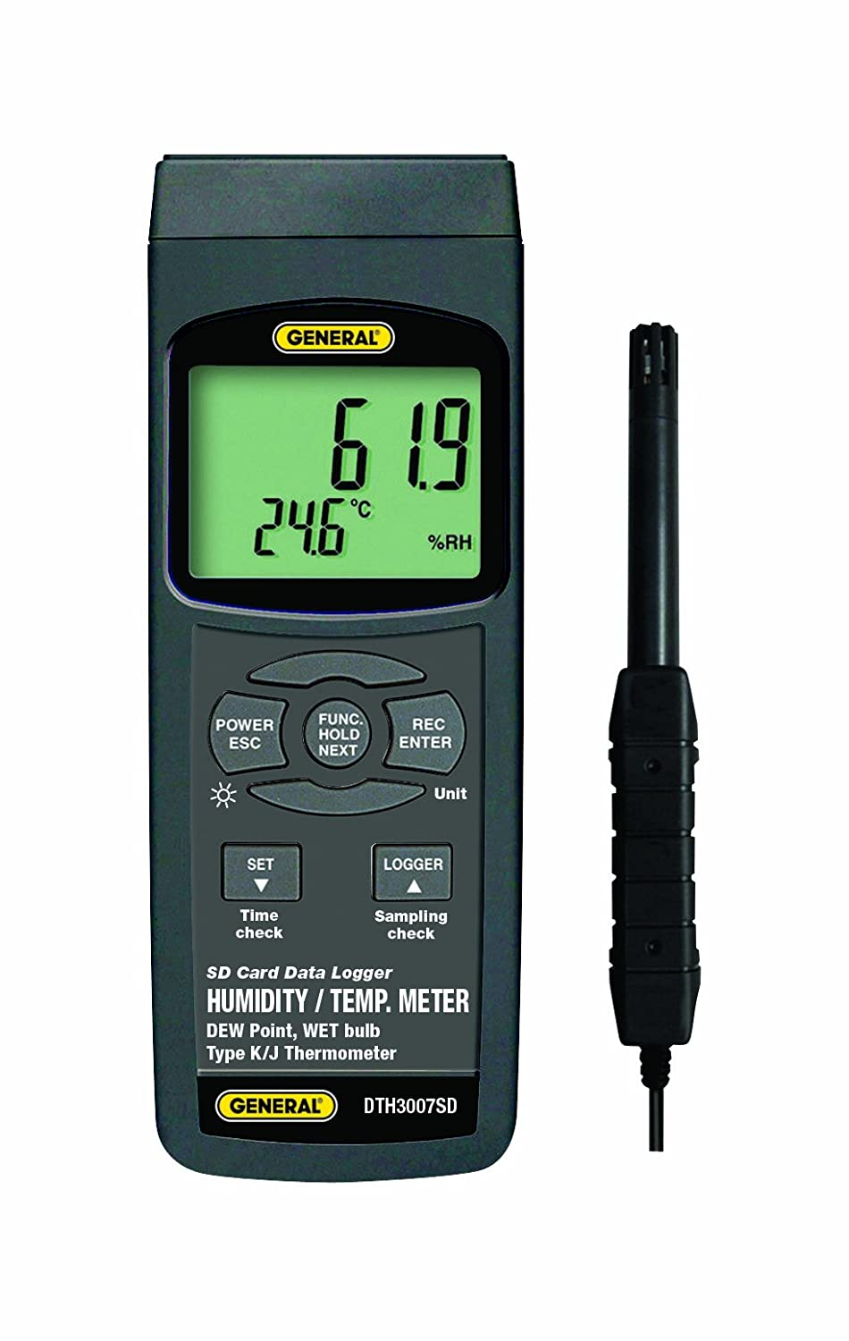 General Tools DTH3007SD Data Logging Thermo Hygrometer with Excel Formatted SD Card