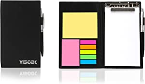 Sticky Notes Notebooks Colored Page Markers Bundle Set, Rectangular Notes and Index Tabs Flags Organizer, W/Fashion Ballpoint Pen, Leather Look Design Holder,Office and Teacher Gift.YISEEK