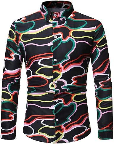 Polos Manga Larga Hombre Camisetas Hombre Básico Polo con Botones Camisa Hawaiana Hombre Camiseta Fruta Floral Estampado Formales Tops BuyO: Amazon.es: Ropa y accesorios