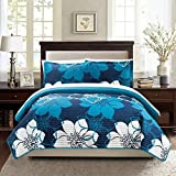 3pc Girls Navy Blue White Floral Theme Quilt Queen Set, Girly Abstract Flowers Pattern, Dark Teal, Solid Gray Themed, Pretty Chic Flower Bedding