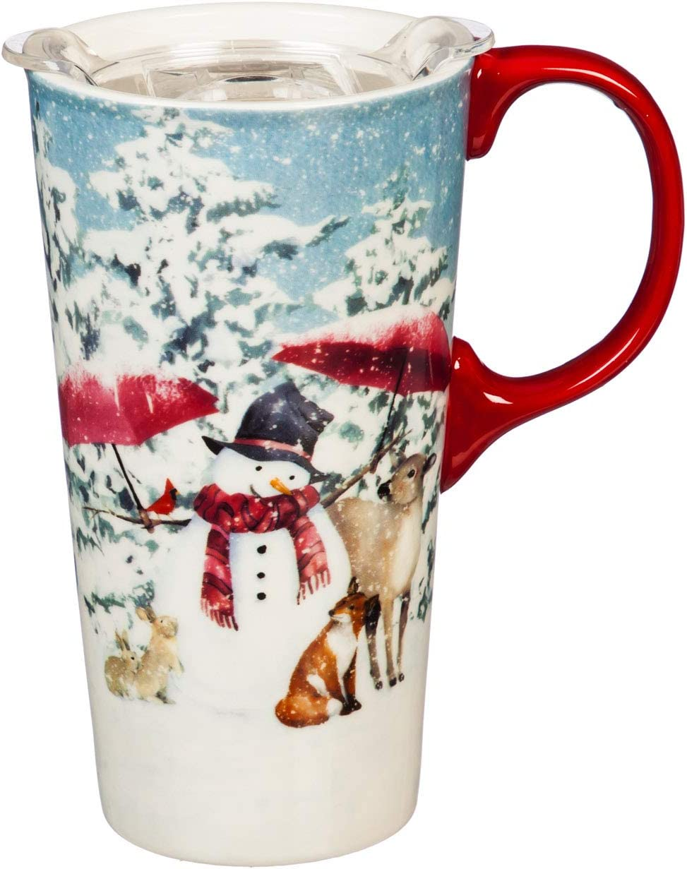 Cypress Home 17 OZ Ceramic Travel Cup and Tritan Lid, Sheltering Snowman 4 x 5 x 7 Inches