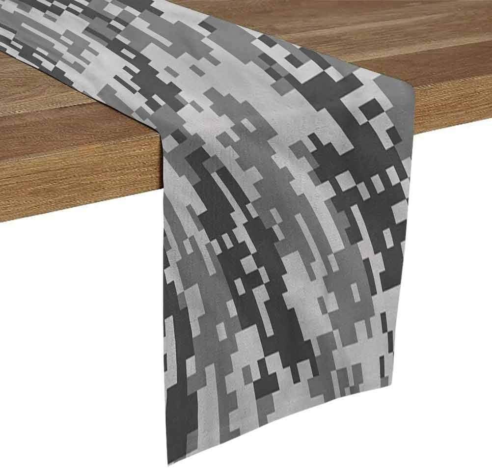 SoSung Linen Burlap Table Runner Dresser Scarves 14x72 Inch Camo,Pixel Effect Digital Grey for Dining Room Kitchen Table Decor,Outdoor or Indoor Parties