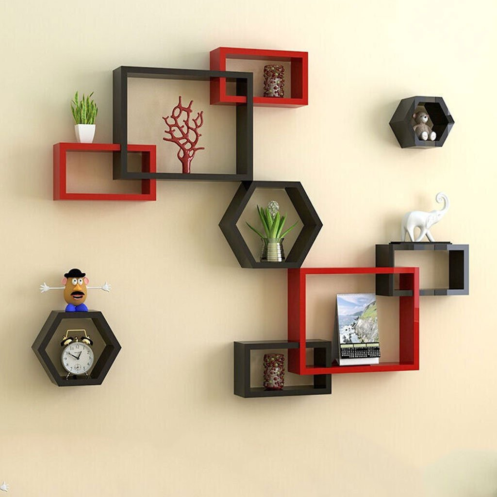 Wall Shelf Wall Partition TV Wall Shelf Room Wall Bookshelf Bedroom Backdrop Decorative Shelf Heart-Shaped Inner Color Partition A Set of Nine Different Sizes (Color : Red and Black)