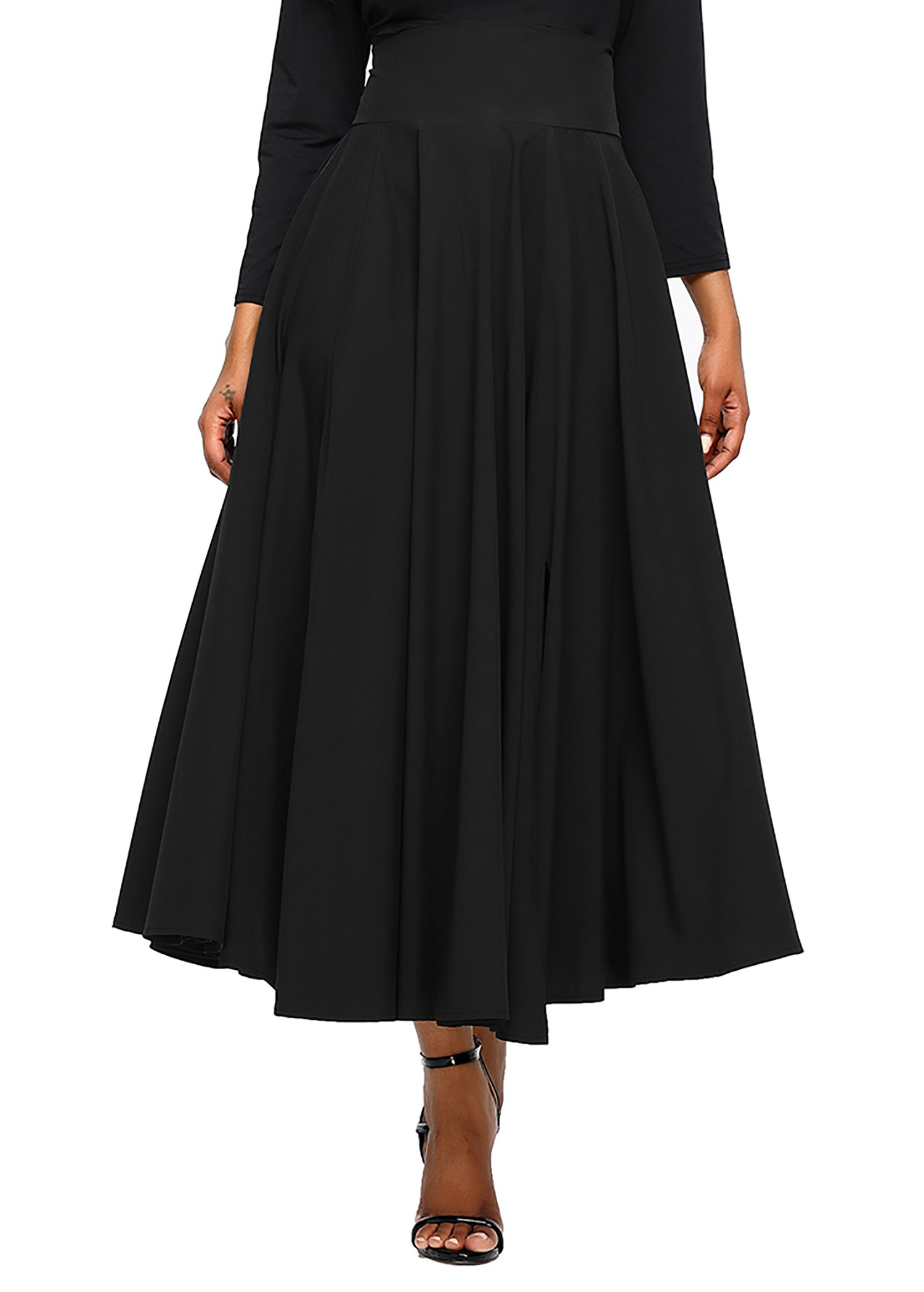 Diukia Women High Waist Casual A-Line Pleated Belted Long Maxi Skirt with Pocket Medium Black by Diukia