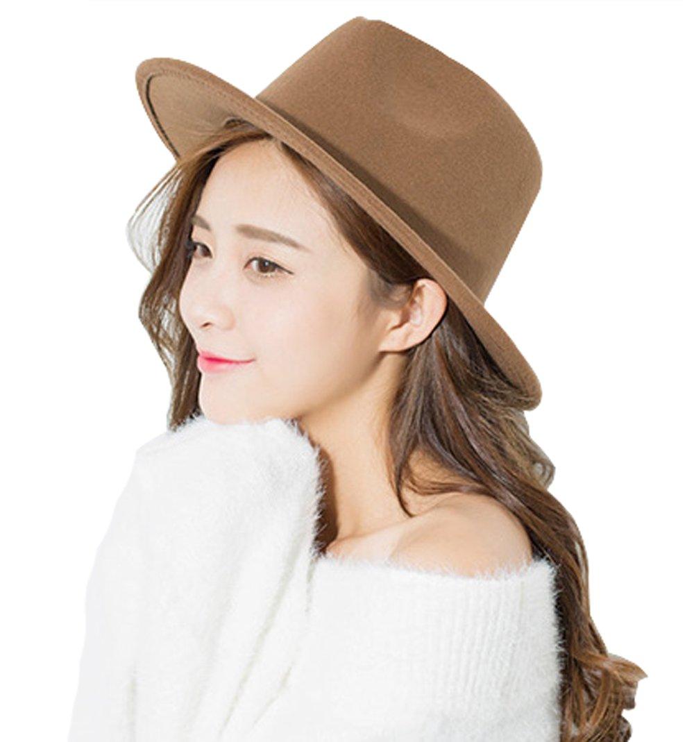 Women Men Woolen Felt Fedora Vintage Short Brim Crushable Jazz Hat (Light Coffee)