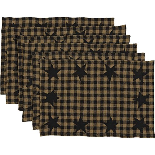 - VHC Brands Primitive Classic Country Tabletop & Kitchen Star Placemat Set of 6, Black