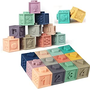 Litand Soft Stacking Blocks for Baby Montessori Sensory Infant Bath Toys for Toddlee Toddlers Babies 6 9 Month 1 2 Year Old