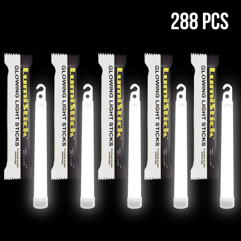 Lumistick 6 inch Emergency Glow Sticks - Bright Colors Illuminates Glowing Glowsticks - Waterproof & Longer Glow in The Dark Night Party Favor (White, 288 Glow Sticks) by Lumistick