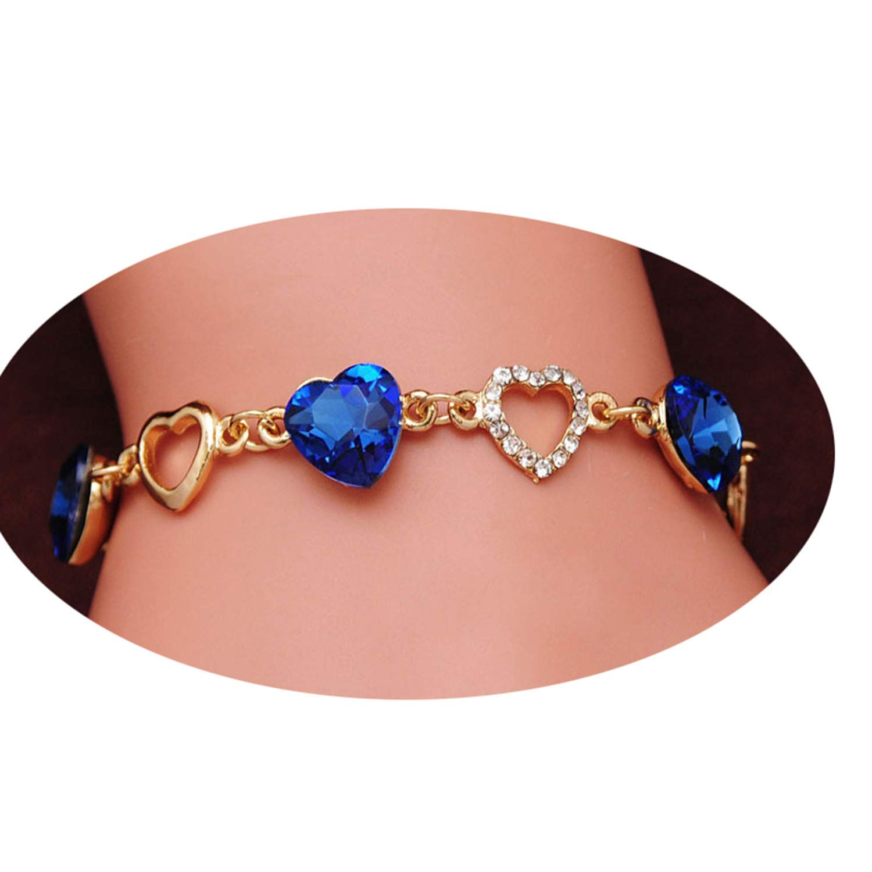 2019 Gifts Romantic Heart Bracelets Women Gold Crystal Bangles Jewelry Bracelet Bijoux
