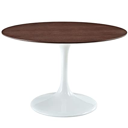 Modway 48u0026quot; Eero Saarinen Style Tulip Dining Table In White With Walnut  Top
