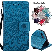 Leather Wallet Case for iPhone 7 Plus with [Tempered Glass Screen Protector], Anti Scratch Luxury Mandala Card Holder Embedded Durable Detachable Magnetic Flip Cover Kickstand case for 7 Plus (Blue)