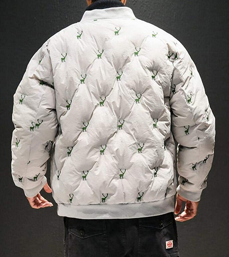 MOUTEN Men Zip Front Thicker Winter Embroidery Relaxed Fit Down Quilted Coat Jacket
