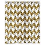 "Innovation Design Gold and white Chevron Shower Curtain (Rideau de douche) Mildew Waterproof Polyester Fabric Bathroom Shower Curtain (Rideau de douche) Size 60"" x 72"" Inch"