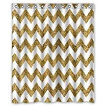 "Innovation Design Gold and white Chevron Shower Curtain (Rideau de douche) Mildew Waterproof Polyester Fabric Bathroom Shower Curtain (Rideau de douche) Size 60"" x 72"" Inch"