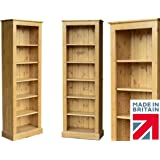 Solid Pine Bookcase, 6ft x 2ft Handcrafted & Waxed Adjustable Display Alcove Shelving Unit, Bookshelves. Choice of Colours. No flat packs, No assembly (BK62)