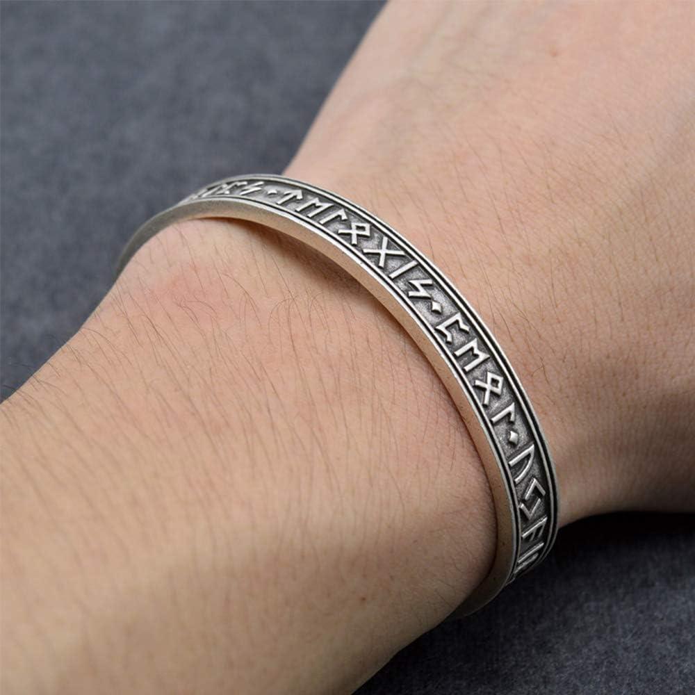 LEEFISH Viking Rune Norrois Bracelet Argent Antique Traditionnel Design Celtique Bijoux Accessoires Hommes Acier Inoxydable Lunavin Bracelet