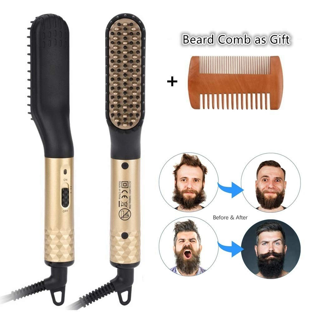 Beard Straightener, LetsRun Beard Straightening Brush for Men, Enhanced Ionic Hair Straightening Comb Electric Hair Tool by LetsRun