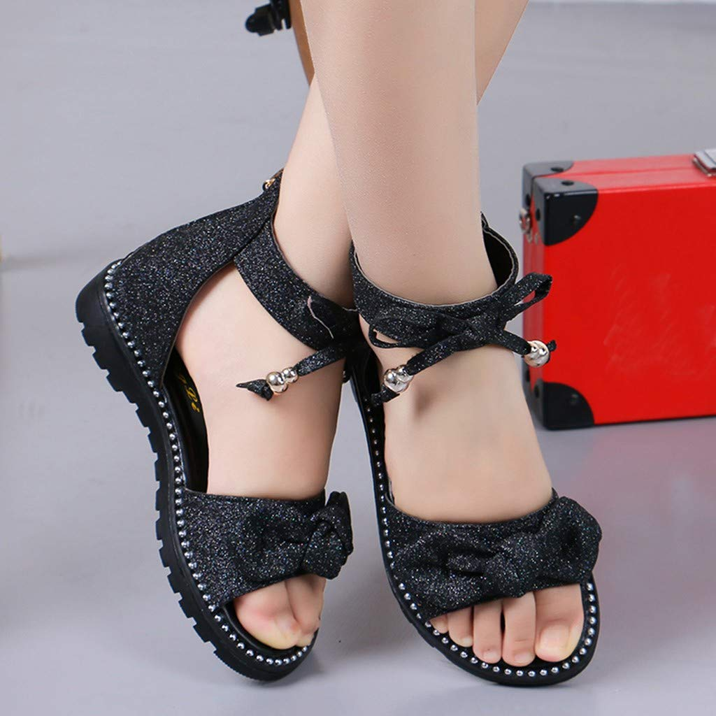 Details about  /Girl Baby Kids Peep Toe Square Heel Shoes Sandals Rhinestones Sequins Princess