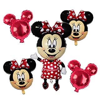 Minnie Mouse Theme Party Balloons - Birthday Balloon Set Baby Shower - Jumbo Mickey Body Small Heads - Red Black White Mylar Decorations - Combined Brands Bundle with Ribbon by Jolly Jon ®