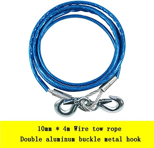 Heavy Duty Tow Ropes 4M 5 Tons Wire Cable High Strength Safety Hook Steel Wire T