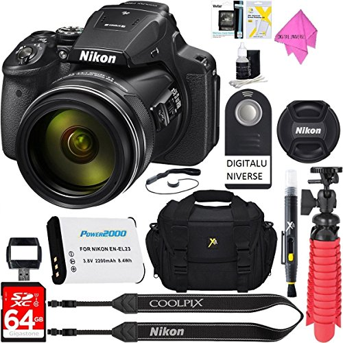 Nikon COOLPIX P900 16MP 83x Super Zoom 4k Wi-Fi GPS Digital Camera + 64GB Memory & Accessory Bundle