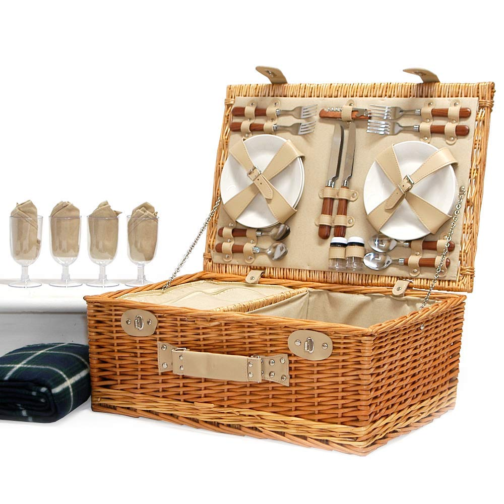 Wedding Gift ideas for Mum Luxury Wicker Fitted Hamper with Built in Chiller Compartment /& Accessories Valentines Birthday Anniversary Mothers Day The Deluxe Sutton 4 Person Picnic Basket /& Green Picnic Blanket Business and Corporate