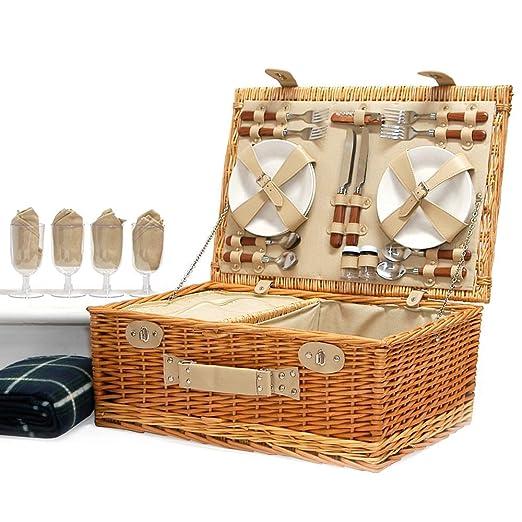 Lujosa cesta de picnic de mimbre Sutton para 4 personas ...