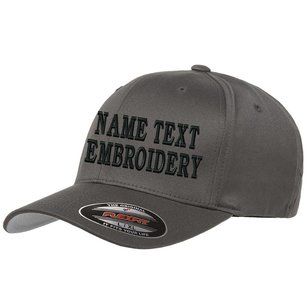 Custom Embroidery Hat Personalized Flexfit 6277 Text Embroidered Baseball Cap - Charcoal Grey by CapRobot