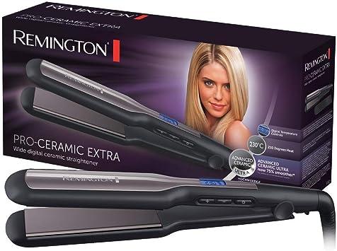 Oferta amazon: Remington Pro Ceramic Extra S5525 - Plancha de Pelo, Cerámica Avanzada, Digital, Placas Flotantes, Negro y Morado
