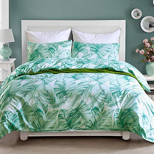 NOKOLULU Leaves Duvet Cover Set Tropical Palm Tree Fronds and Banana Tree Leaves Pattern Printed Luxury Quality Soft Breathable Hypoallergenice Durable(1 Duvet Cover + 2 Pillow Shams)(King,Green)