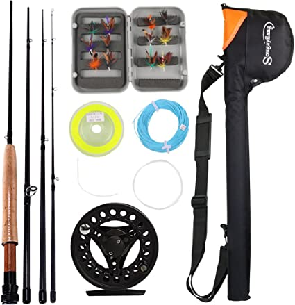 Amazon Com Sougayilang Saltwater Freshwater Fly Fishing Rod With Reel Combo Kit Black Kits With Bag Sports Outdoors