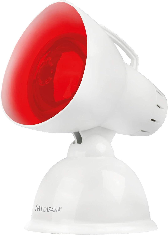 Medisana IR 100 Lámpara de calor infrarrojo de 100 vatios, lámpara de infrarrojos para mejorar el bienestar, radiador de calor para relajar los músculos