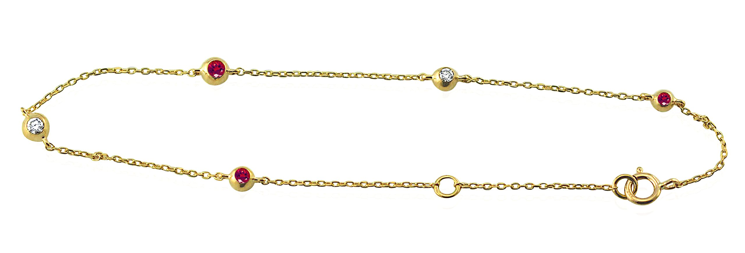 14K Yellow Gold 0.15 Ct. Natural Real Round Diamond & Red Ruby Adjustable Ball Chain Bracelet 7 inch