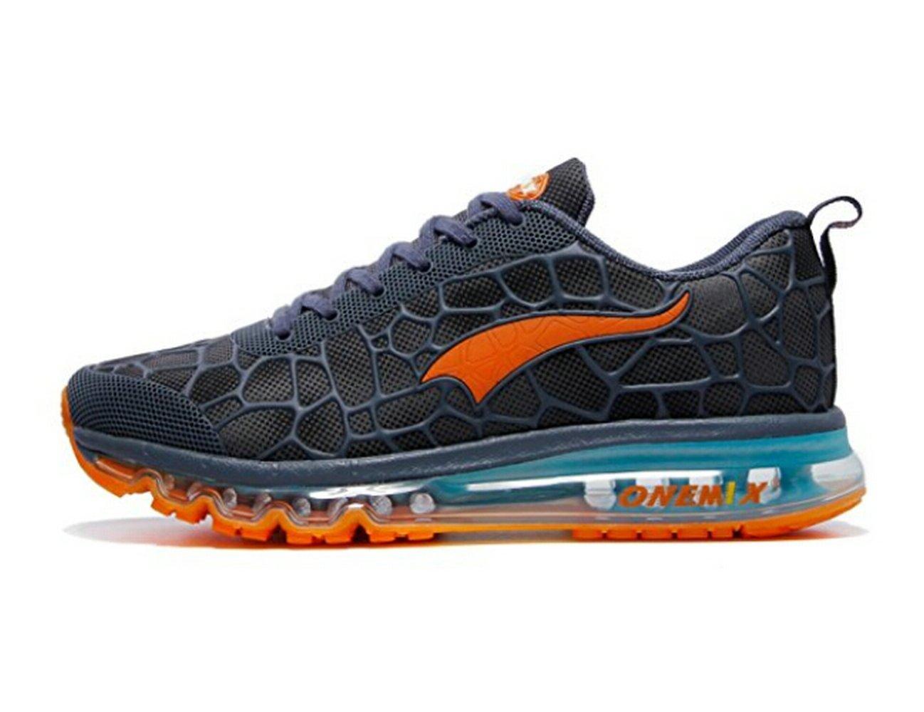onemix Herren Air Laufschuhe Sportschuhe mit Luftpolster Turnschuhe Leichte Schuhe  40 EU|See blau / orange