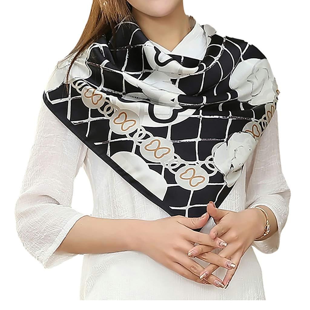 Square Scarf with Versatile Shawl, 100% Silk Printed Scarf, Length 90cm