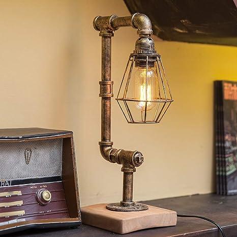 Lámpara de mesa industrial vintage, lámpara de mesa con base de ...