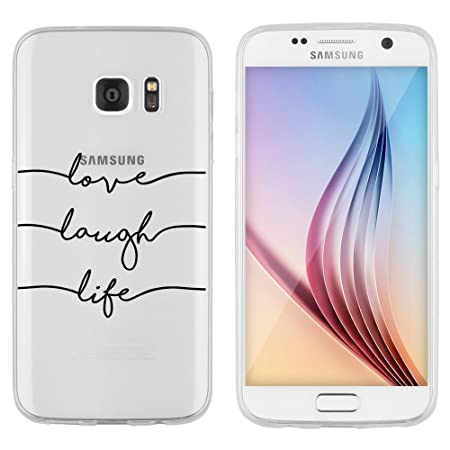 licaso Samsung Galaxy S7 Hülle Samsung S7 aus TPU Silikon Love Laugh Life Muster Ultra-dünn schützt Dein Samsung S7 Case Desi