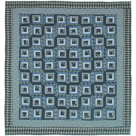 Patch Magic Blue Log Cabin Luxury King Quilt 120 Inch By 106 Inch