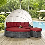 Cheap Modway EEI-1997-GRY-RED Summon Canopy Outdoor Patio Sunbrella Daybed in Canvas Red