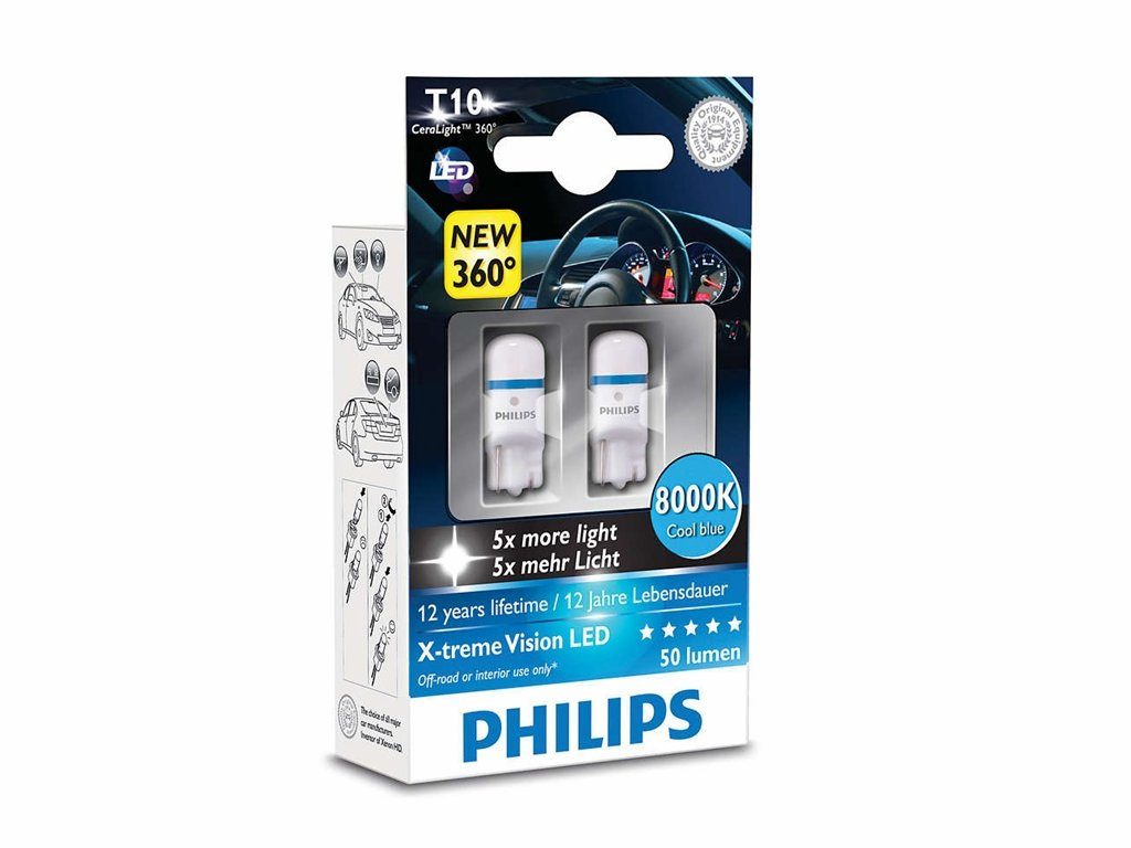 Philips Xtreme Vision 360 LED W5W T10 194 168 (4000K) (Pack of 2) 127994000KX2