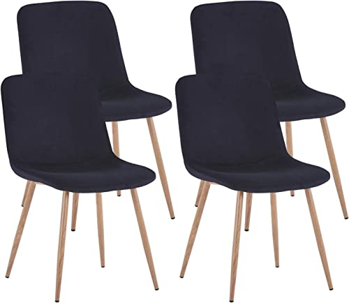 Danxee Mid-Century Side Chairs Set of 4 Dining Chairs Fabric Cushion Kitchen Chair
