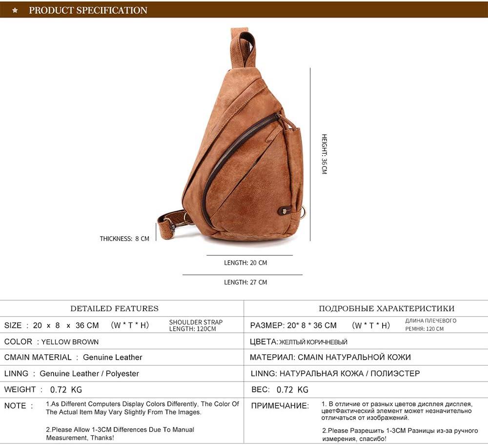 BAIGIO Sling Rucksack Leder Herren Brusttasche Crossbody Bag Vintage Umh/ängetasche f/ür Outdoor Sport Reisen Braun