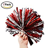 """Regpre 14"""" Pom Poms Cheerleading Red+Siliver Metallic Foil & Plastic Ring for Cheering Squad Pack of 2"""