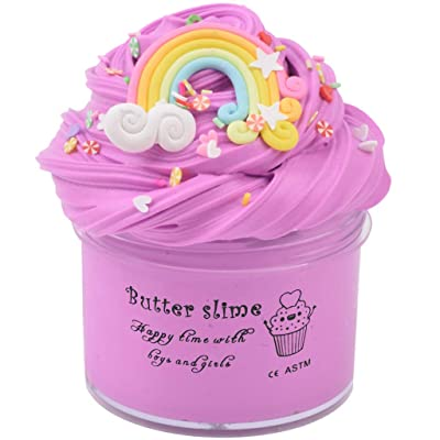 HappyTimeSlime Butter Birthday Contton Rainbow Slime, Non-Sticky Floam Slime Stress Relief Toy Scented DIY Putty Sludge Toy for Girls and Boys(7oz) 200ML: Toys & Games