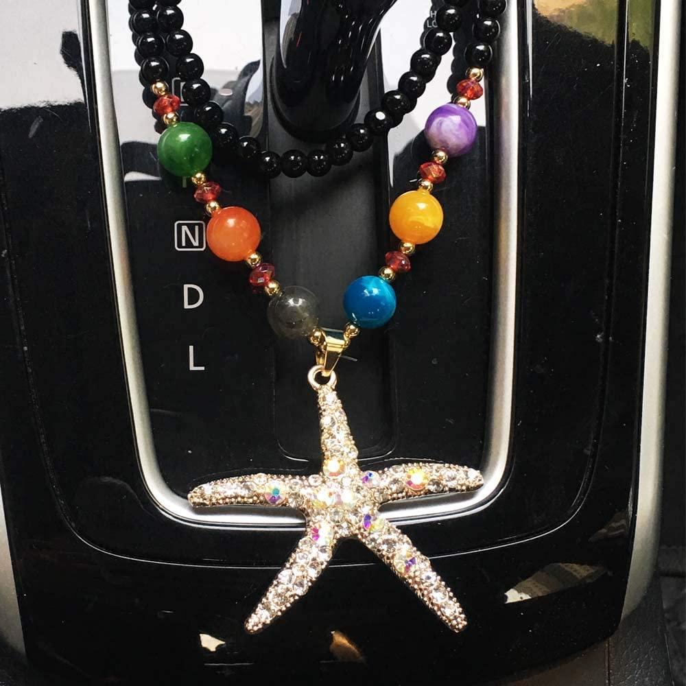 Hand Craft Car Charm Rear view Pendant Mirror Necklace Hanging Car Interior Decoration Ornament