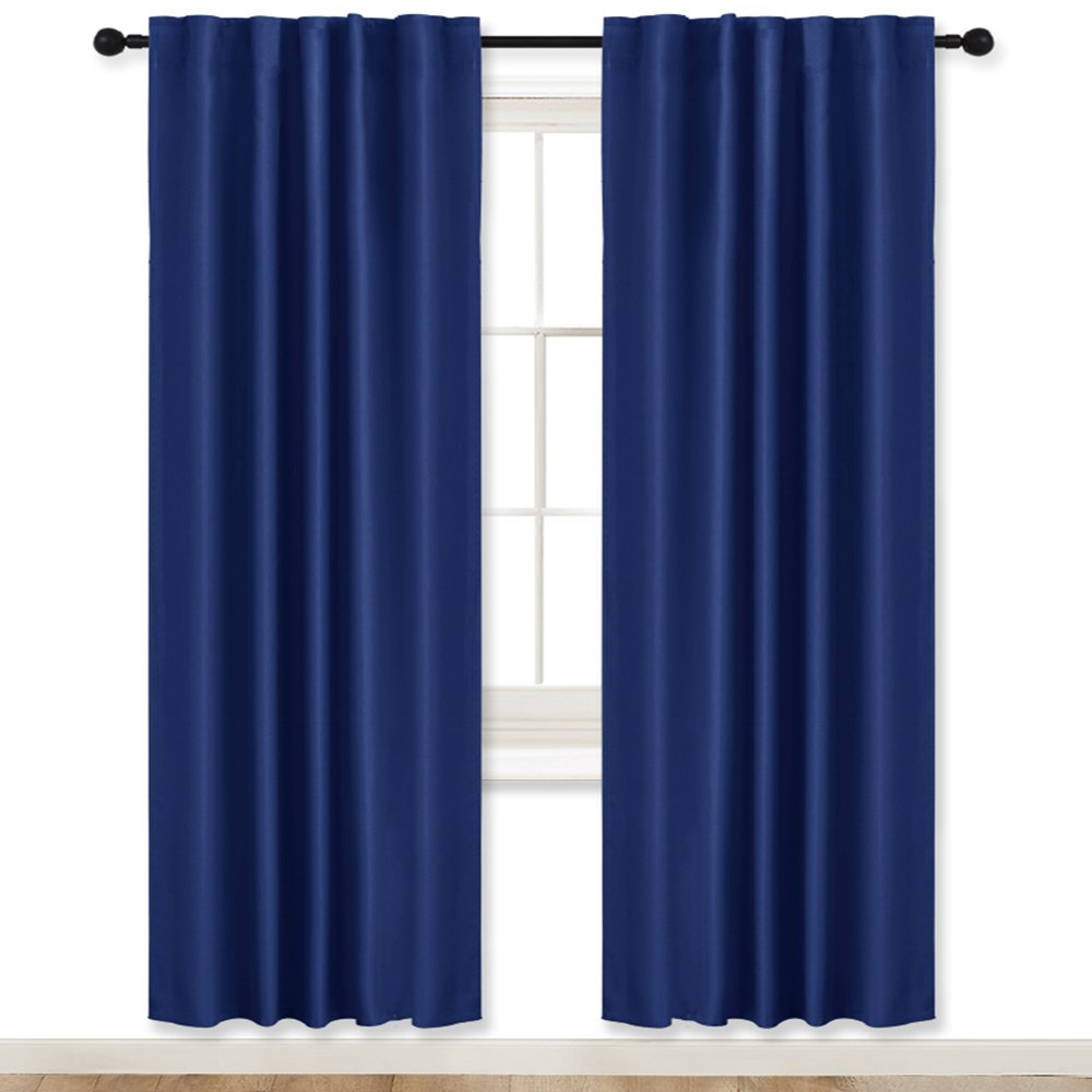 Blackout Curtains Drapes Thermal Insulated - RYB HOME ( W 42'' by L 72'', Navy Blue, 2 Pcs ) Windows Treatment Back Tab / Rod Pocket Room Darkening Privacy Protect for Boys' Bedroom