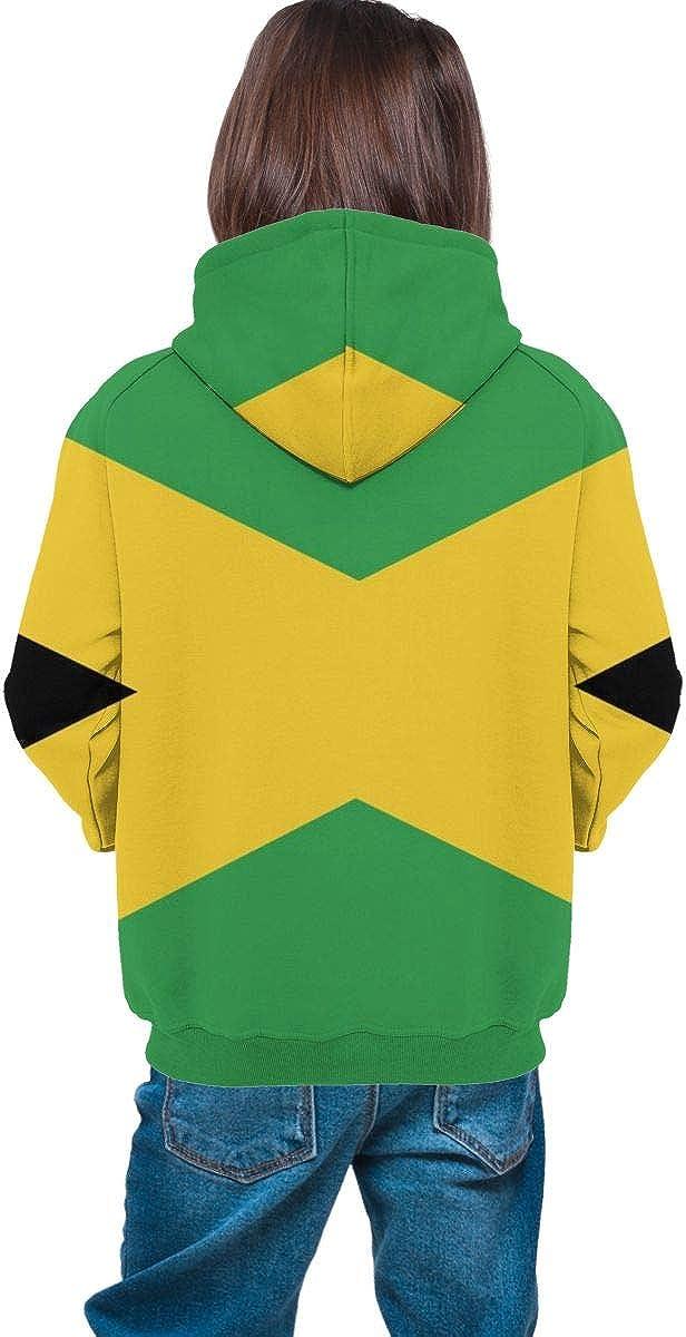 Jamaica Flag Teen Hooded Sweatshirt Pullover Drawstring Pocket Novelty Coat for Children