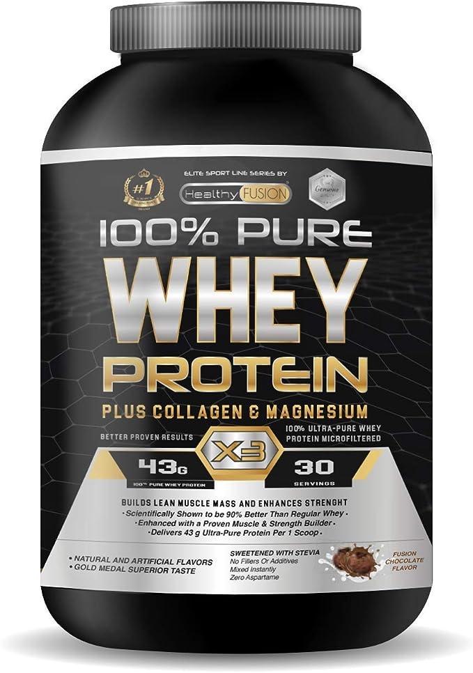 Image ofWhey Protein | Proteina whey pura con colágeno + magnesio | Tonifica y aumenta la masa muscular | Protege músculos y ayuda a la recuperación de los tejidos fibrosos | 1000g de proteína sabor chocolate