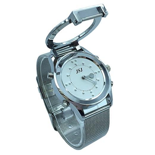 Reloj parlante y táctil braille con anuncio de la hora en francés para las personas ciegas o de edad avanzada, color blanco: Amazon.es: Relojes